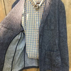 Linen & Cotton Relaxed Chambray Blazer NWOT sz LT